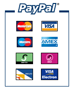 PayPal logo with Mastercard, Visacard and other payment symbols